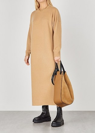 EXTREME CASHMERE No. 106 Weird camel cashmere-blend jumper dress ~ ankle length knitted dresses - flipped