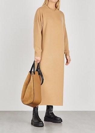 EXTREME CASHMERE No. 106 Weird camel cashmere-blend jumper dress ~ ankle length knitted dresses