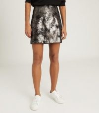 REISS FALLON LEATHER MINI SKIRT SILVER ~ luxe metallic skirts