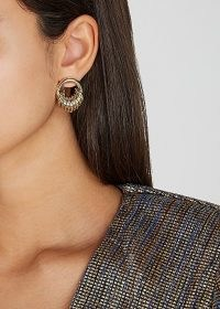 FALLON Stacked gold-tone drop earrings / multi hoops / hooped jewellery