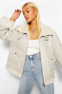 boohoo Faux Fur Lined Faux Leather Aviator ~ casual jackets