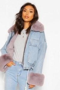 boohoo Faux Fur Trim Oversized Denim Jacket ~ casual winter jackets