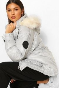 boohoo Faux Fur Trim Oversized Sporty Parka Silver Grey ~ metallic effect winter coats ~ casual outerwear