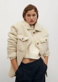 MANGO CABRETA Faux shearling jacket ~ beige textured jackets