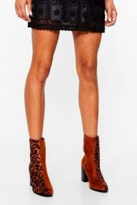 NASTY GAL Faux Suede For Dancing Leopard Heeled Boots