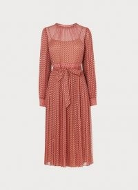 L.K. BENNETT FELIX PINK DEVORÉ SPOT PLEATED DRESS / burnout dresses