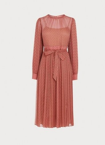 L.K. BENNETT FELIX PINK DEVORÉ SPOT PLEATED DRESS / burnout dresses - flipped