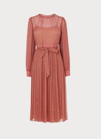 L.K. BENNETT FELIX PINK DEVORÉ SPOT PLEATED DRESS / burnout dresses