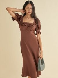REFORMATION Fifer Dress ~ chestnut brown square neck dresses