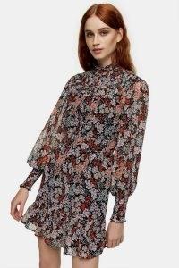 TOPSHOP Floral Print Yoke Ruched Mini Dress – florals – flower printed dresses