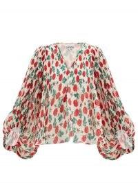 GANNI Floral-print pleated-georgette blouse / balloon sleeve rose print blouses