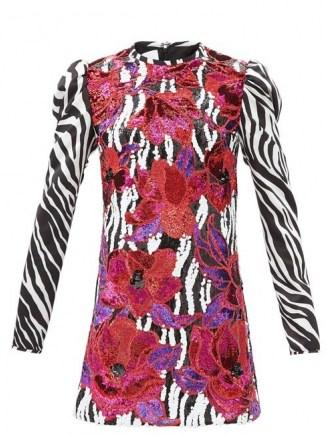 HALPERN Floral-sequinned zebra-print satin mini dress / mixed print occasion dresses / animal prints - flipped
