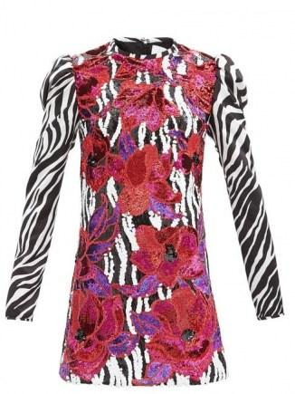 HALPERN Floral-sequinned zebra-print satin mini dress / mixed print occasion dresses / animal prints