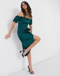 Flounce London bardot ruched midi dress with thigh split and wrap tie waist in emerald green ~ off the shoulder party dresses