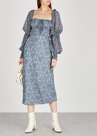 FREE PEOPLE Aglow floral-print midi dress in blue / open back dresses