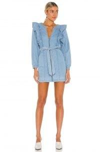 Free People Imogene Mini Dress | chambray fashion | lightweight denim dresses | ruffle detail