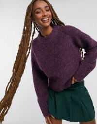 French Connection Kate knits crew neck jumper in purple ~ round neck jumpers ~ relaxed fit knitwear