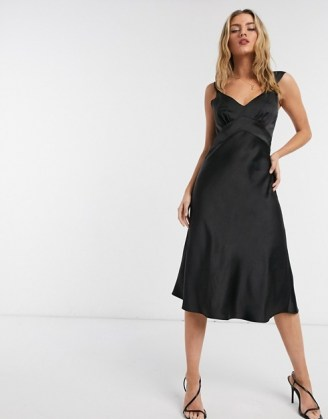French Connection satin slip midi dress in black | LBD | vintage look evening dresses - flipped