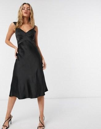 French Connection satin slip midi dress in black | LBD | vintage look evening dresses