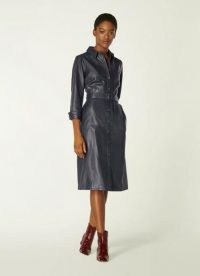 L.K. BENNETT GAIA NAVY LEATHER SHIRT DRESS / blue luxury dresses