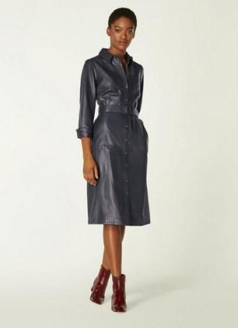 L.K. BENNETT GAIA NAVY LEATHER SHIRT DRESS / blue luxury dresses