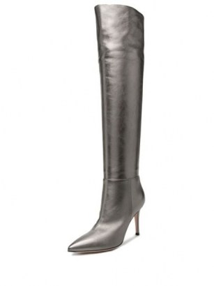 Gianvito Rossi knee-length metallic effect boots ~ grey point toe boot - flipped