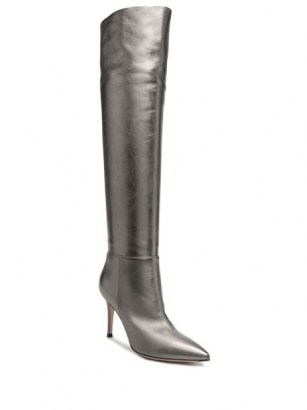 Gianvito Rossi knee-length metallic effect boots ~ grey point toe boot