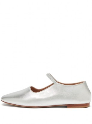 MANSUR GAVRIEL Glove silver-leather Mary-Jane flats / metallic Mary Janes / luxe flat shoes - flipped