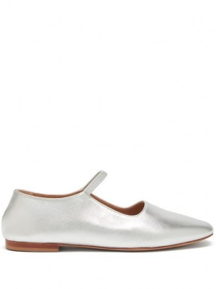 MANSUR GAVRIEL Glove silver-leather Mary-Jane flats / metallic Mary Janes / luxe flat shoes