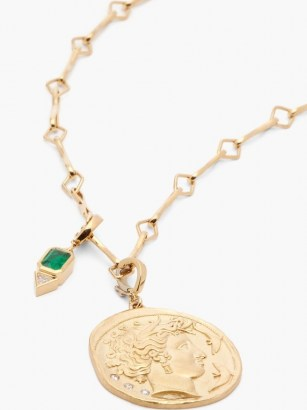 AZLEE Goddess diamond, emerald & 18kt gold necklace ~ circular ancient style pendant necklaces ~ luxe round pendants ~ fine statement jewellery - flipped