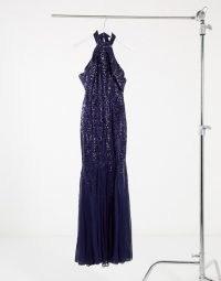 Goddiva cut out shoulder high neck embellished dress in navy ~ sparkling long dresses ~ sequinned occasion fashion