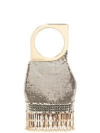 Paco Rabanne bangle-handle chainmail mesh bag – small luxe metallic evening bags