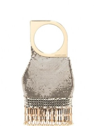 Paco Rabanne bangle-handle chainmail mesh bag – small luxe metallic evening bags - flipped