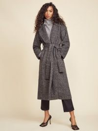REFORMATION Gooding Coat in Grey ~ wrap style tie waist coats