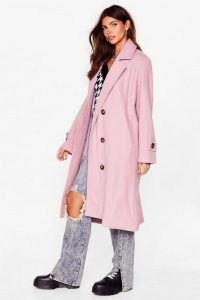 NASTY GAL Got It Covered Faux Wool Longline Coat ~ mauve coats
