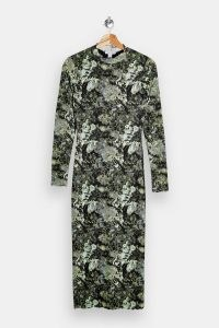 TOPSHOP Green Jersey Midi Dress