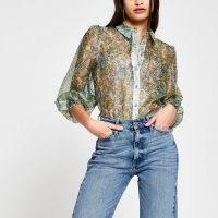 RIVER ISLAND Green long sleeve floral sheer shirt ~ feminine shirts