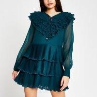 RIVER ISLAND Green long sleeve ruffle mini dress ~ romantic ruffles ~ tiered dresses