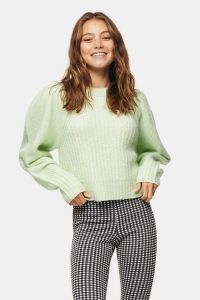 TOPSHOP Green Pleated Sleeve Cropped Knitted Jumper ~ volume sleeved jumpers
