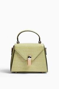 Topshop Green Triangle Lock Grab Bag | croc effect handbag | top handle bags