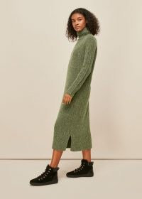 WHISTLES FLECKED WOOL KNIT MIDI DRESS / green speckled sweater dresses / high roll neck jumper dress / knitwear with style