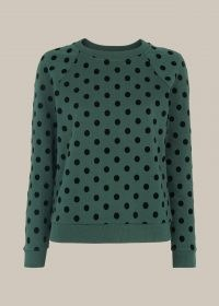 WHISTLES FLOCKED SPOT SWEATSHIRT / green crew neck sweat tops