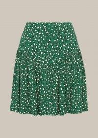 WHISTLES WILD LEOPARD FLIPPY SKIRT / green wild cat prints skirts