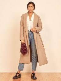 REFORMATION Greenwich Coat ~ camel brown shawl collar coats