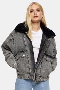 Topshop Grey Acid Wash Borg Lined Denim Jacket ~ casual oversized faux fur collar jackets