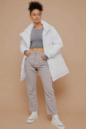 Topshop Grey Corduroy Straight Jeans | textured high waist straight leg jean - flipped