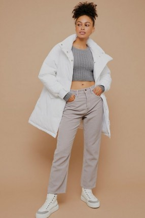 Topshop Grey Corduroy Straight Jeans | textured high waist straight leg jean