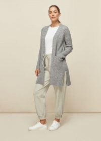 WHISTLES LILLY LONG LINE WOOL CARDIGAN ~ longline grey cardigans