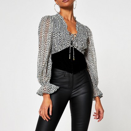 River Island Grey long sleeve corset print blouse top | fitted waist tops - flipped