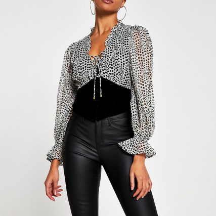 River Island Grey long sleeve corset print blouse top | fitted waist tops